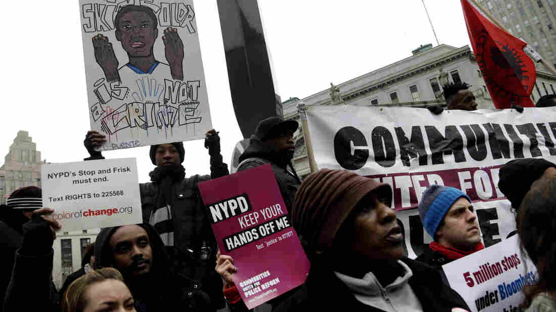 Protesters participate in a rally near the federal courthouse March 18 in New York. Lawyers for four men who say they were illegally stopped said many of the 5 million people stopped, questioned and sometimes frisked by police in the past decade were wrongly targeted because of their race.