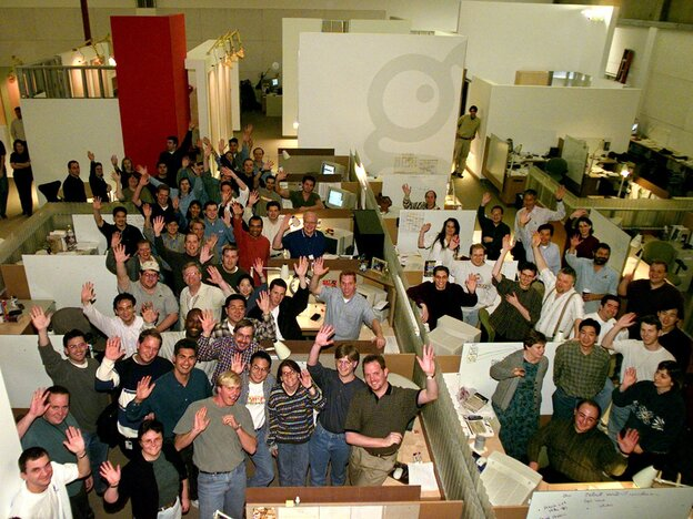 GeoCities employees pose for a picture in 1999 after the Yahoo acquisition was announced. Yahoo quietly shut down GeoCities a decade later.