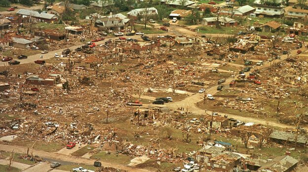 Destruction at Midwest City, Okla., one of the towns hit by the May 5, 1999, tornadoes. (AP)