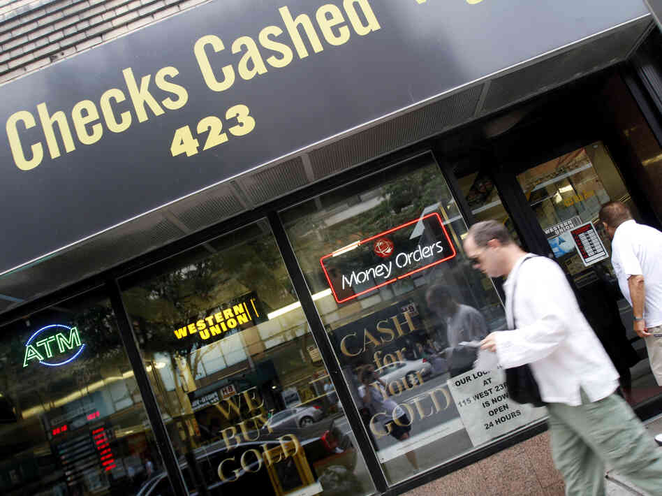 Millions of people who rely on check-cashing stores, like this one in New York City, could