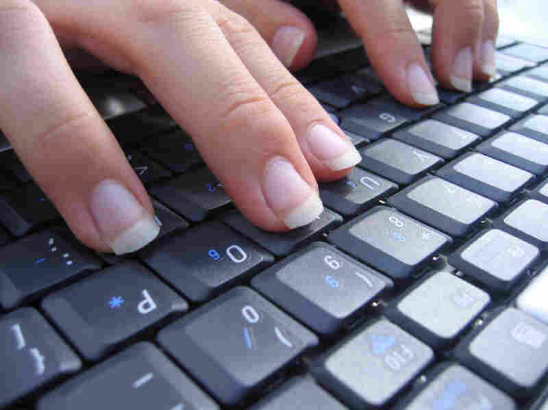 Typing hands.