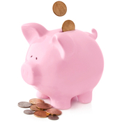 pink piggy bank with coins