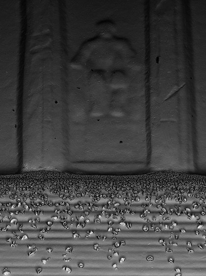 Sense Of Scale: Microflower sculptures row in front of the Lincoln Memorial imprinted on the back of a penny.