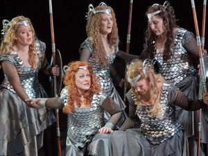 The Valkyries, led by Brunnhilde (soprano Debra Voigt, lower left), are the warrior maidens of Richard Wagner's epic Ring cycle.