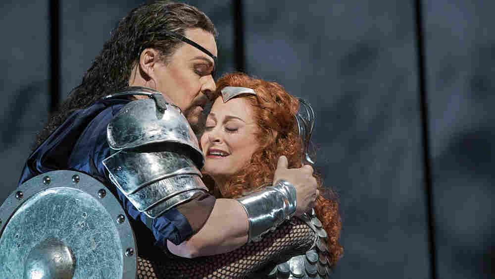 Mark Delevan as Wotan and Deborah Voigt as his daughter Brunnhilde in Wagner's Die Walküre.
