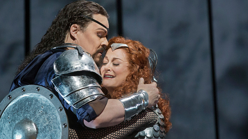 Mark Delevan as Wotan and Deborah Voigt as his daughter Brunnhilde in Wagner's Die Walküre. (Metropolitan Opera)