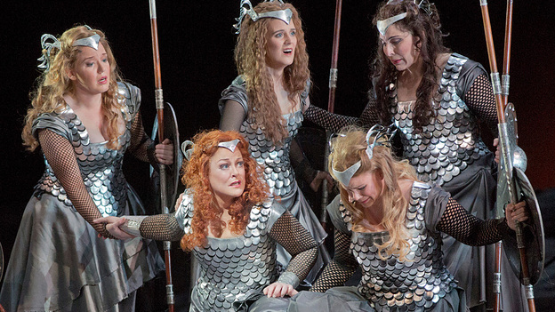 The Valkyries, led by Brunnhilde (soprano Debra Voigt, lower left), are the warrior maidens of Richard Wagner's epic Ring cycle. (Metropolitan Opera)