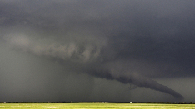 The funnel of this tornadic thunderstorm came close to the ground near South Haven, Kansas, on Sunday. (Reuters /Landov)