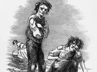 This illustration from 1846 shows a starving boy and girl raking the ground for potatoes during the Irish potato famine, which began in the 1840s.
