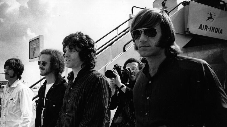 The Doors at London Airport in 1968. Left to right: John Densmore, Robby Krieger, Jim Morrison and Ray Manzarek. Manzarek died May 20 of bile-duct cancer. (Getty Images)
