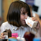 Morgan Barnett, 7, drinks from containers of 1 percent milk and chocolate milk during lunch at a school in St. Paul, Minn., in 2006.