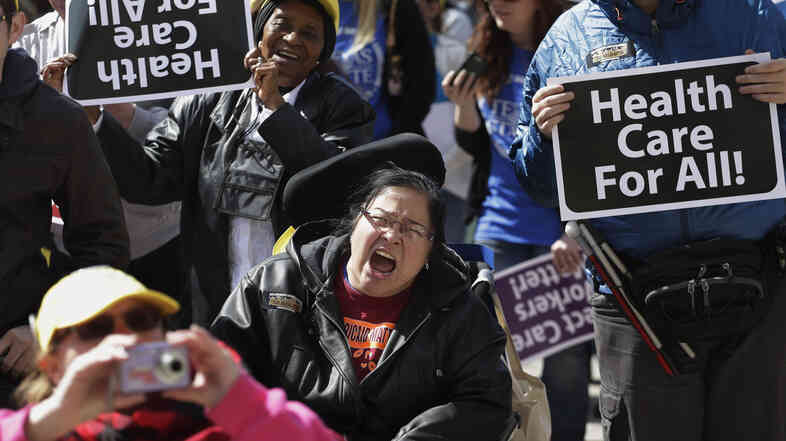 Protesters march on the Texas Capitol in Austin on March 5, demanding that lawmakers expand Medicaid to include an additional 1.5 million poor people.