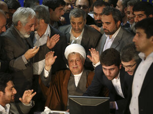 Former Iranian President Akbar Hashemi Rafsanjani's candidacy for the country's presidency was rejected Tuesday by the powerful Guardian Council. He's seen here on May 11 registering his candidacy for the June 14 election.