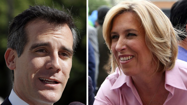 Los Angeles mayoral candidates Eric Garcetti and Wendy Greuel. (AP)