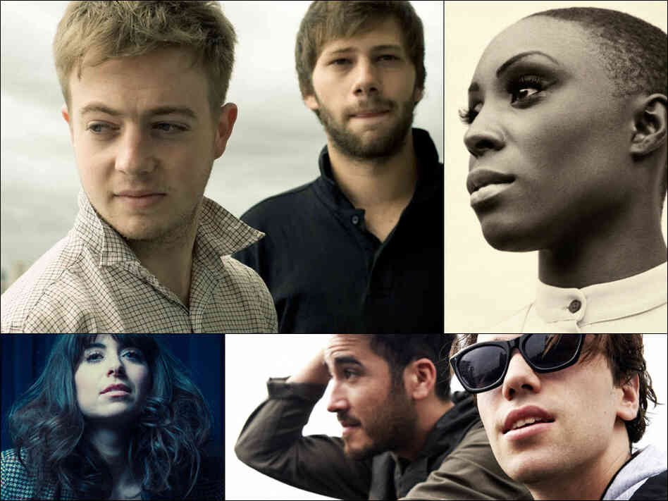 Clockwise from upper left: Mount Kimbie, Laura Mvula, Jagwar Ma, Leah Siegel of Firehorse
