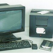 This computer was the first Web server. It was used by Tim Berners-Lee in 1990 to develop and run the first multimedia browser and Web editor.