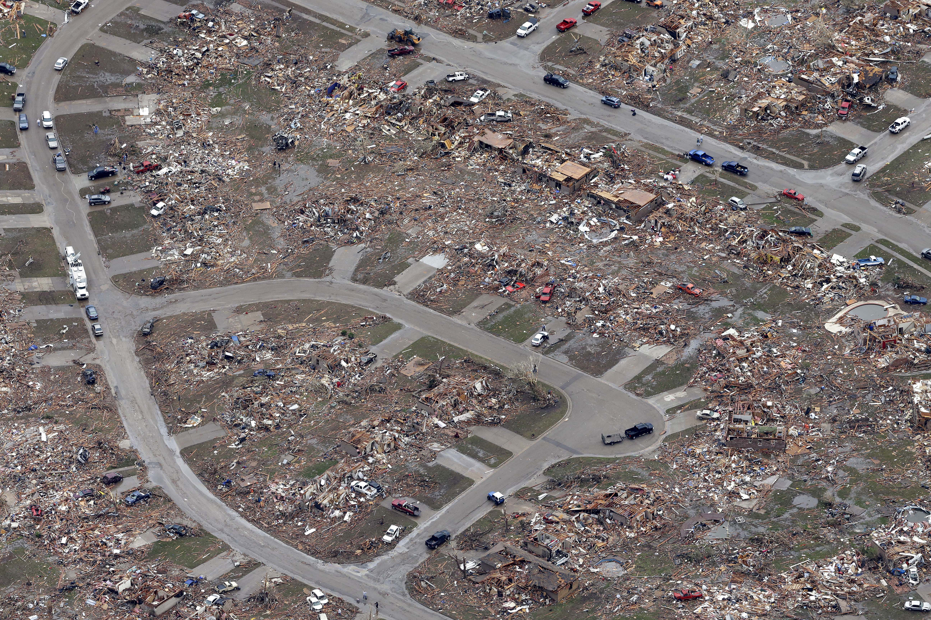 An aerial image taken Tuesday shows an entire neighborhood destroyed by Monday's tornado in Moore.