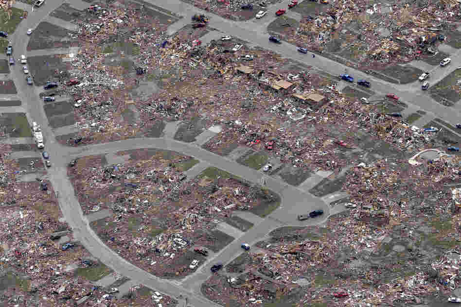An aerial image taken on Tuesday shows an entire neighborhood of Moore was destroyed by Monday's tornado.