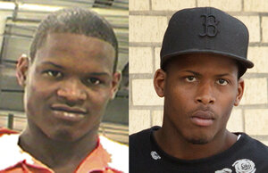 (left) Akein Scott shown here at booking in a photo provided by Orleans Parish Criminal Sheriffs Office on May 16, 2013. (right) Shawn Scott 24, is led out of the New Orleans 5th District Police Station, Thursday, May 16, 2013 in New Orleans.