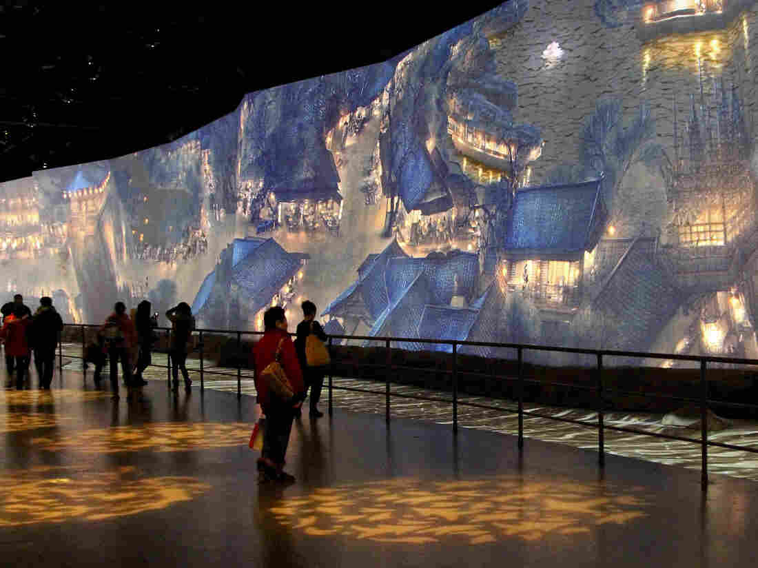 "One of the highlights of the new China Art Palace in Shanghai is a giant digital rendering of a famous ancient scroll, ""Along the River During Qingming Festival,"" which includes figures that walk and talk. The work was first presented at the 2010 World Expo in Shanghai."