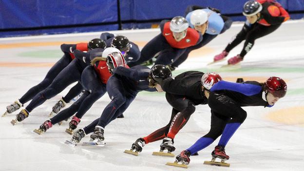 Speedskaters practiced for the U.S. Single Distance Short Track Speedskating Championships in Kearns, Utah, last year. (AP)