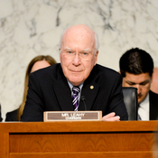 Senate Judiciary Chairman Patrick Leahy, D-Vt., (center) listens to testimony during a hearing on the immigration bill on April 22.