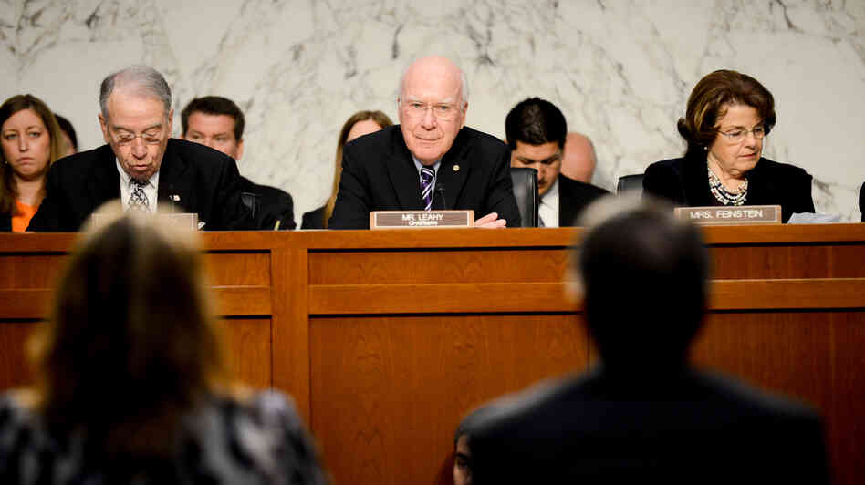 Senate Judiciary Chairman Patrick Leahy, D-Vt. (center), listens to testimony during