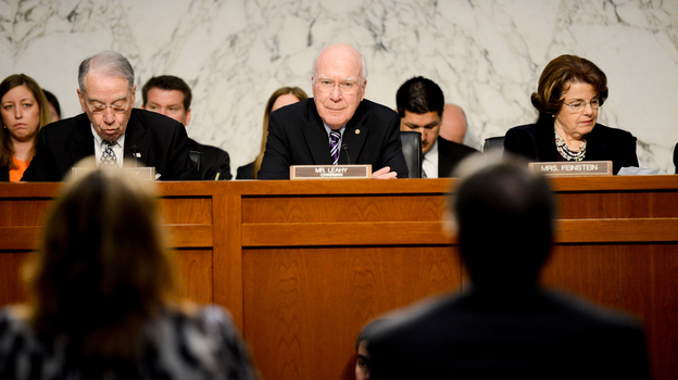 Senate Judiciary Chairman Patrick Leahy, D-Vt. (center), listens to testimony during a hearing on the immigration bill on April 22. (The Washington Times/Landov)