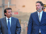 Costa Concordia captain Francesco Schettino (L) and his lawyer Francesco Pepe leave after a session of the trial in the Costa Concordia cruise ship disaster last month.
