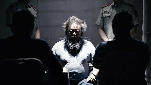 The video for Chinese artist Ai Weiwei's newly released song starts by re-creating the conditions of his captivity during the 81 days he was held in police detention in 2011, and later dissolves into a dystopian nightmare. (Courtesy Ai Weiwei)