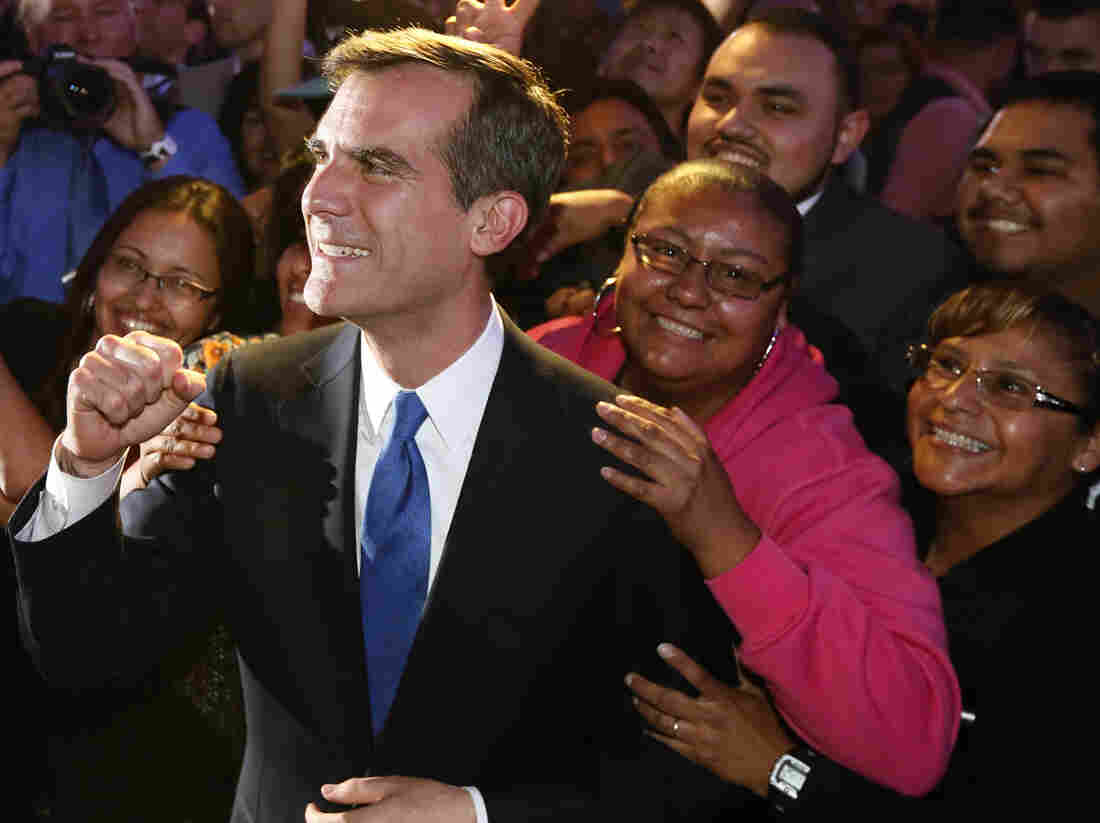 Incoming Los Angeles Mayor Eric Garcetti celebrated with supporters late Tuesday in Hollywood.