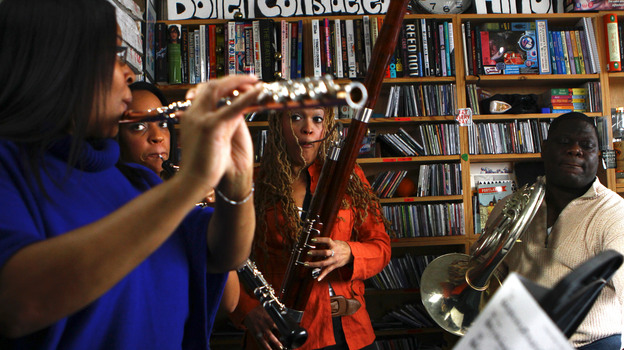 Imani Winds performs a Tiny Desk Concert in February 2013. (NPR)