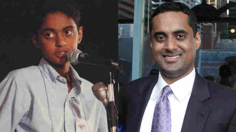 """Srinivas Ayyagari onstage in 1992 (left); at right, Ayyagari today. """"Seeing someone from ESPN commenting on your style and strategy was bizarre and weird. But it's the closest I'll ever come to being an athlete,"""" Ayyagari says."""