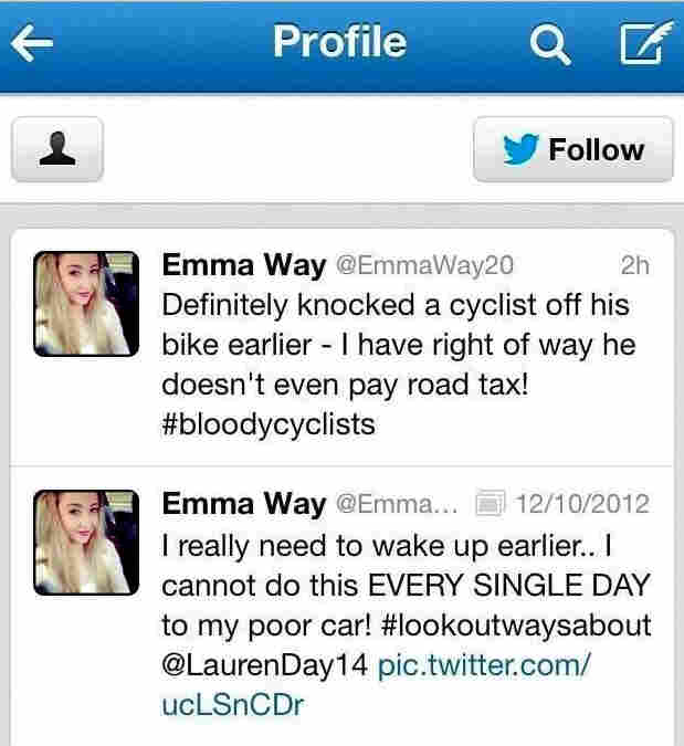 A screen capture shows a tweet sent by Emma Way after she was involved in a collision Sunday. She has apologized for the incident.