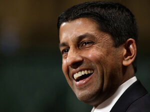 Deputy Solicitor General Sri Srinivasan testifies before the Senate Judiciary Committee on Capitol Hill on April 10.