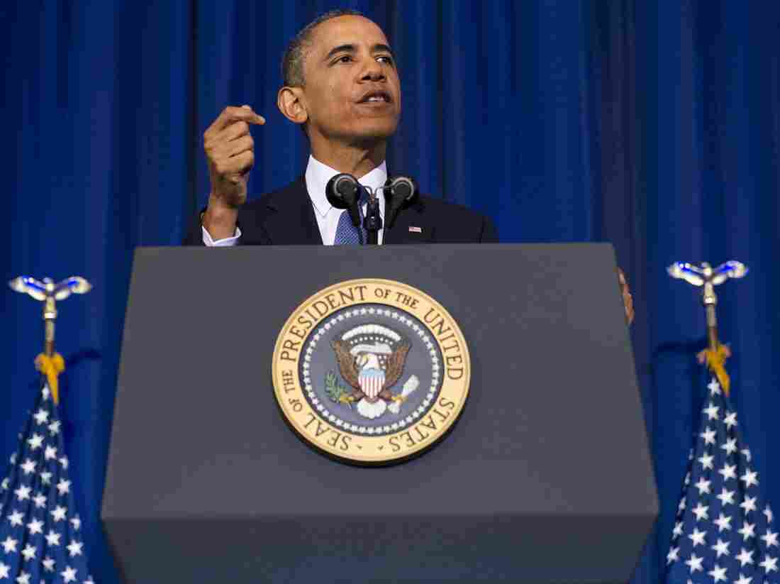 President Obama speaks about his administration's drone and counterterrorism policies at the National Defense University on Thursday.