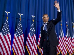 President Obama waves after addressing his administration's drone and counterterrorism policies, as well as the military prison at Guantanamo Bay, in a speech at the National Defense University in Washington, D.C., on Thursday.
