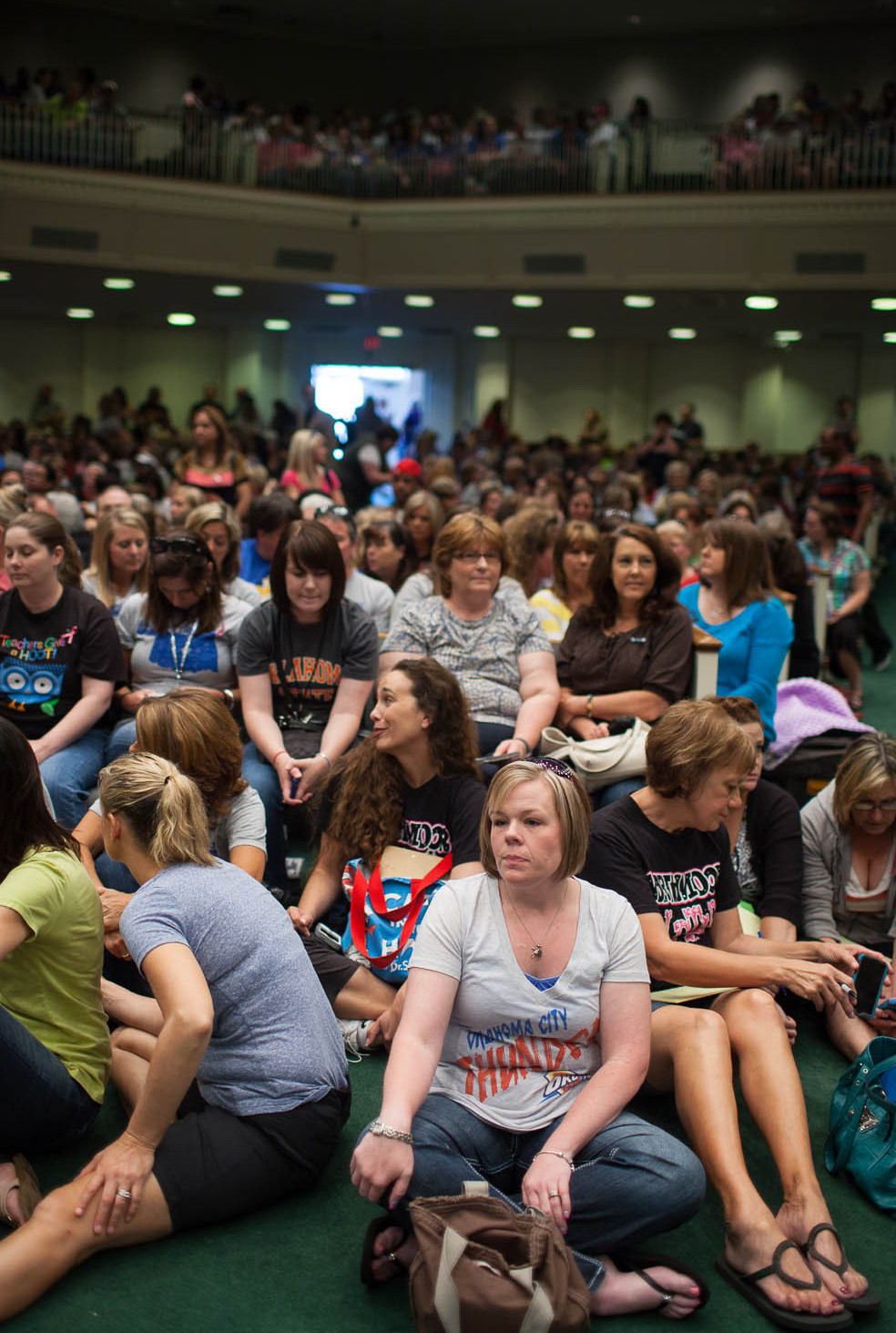Teachers from North Moore Elementary School gather at a meeting at Southern Hills Baptist Church in Oklahoma City.