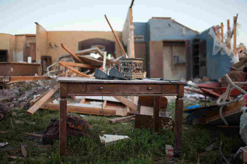 A home in the Heatherwood subdivision after the tornado. Several neighbors pitched in to help people dig out.
