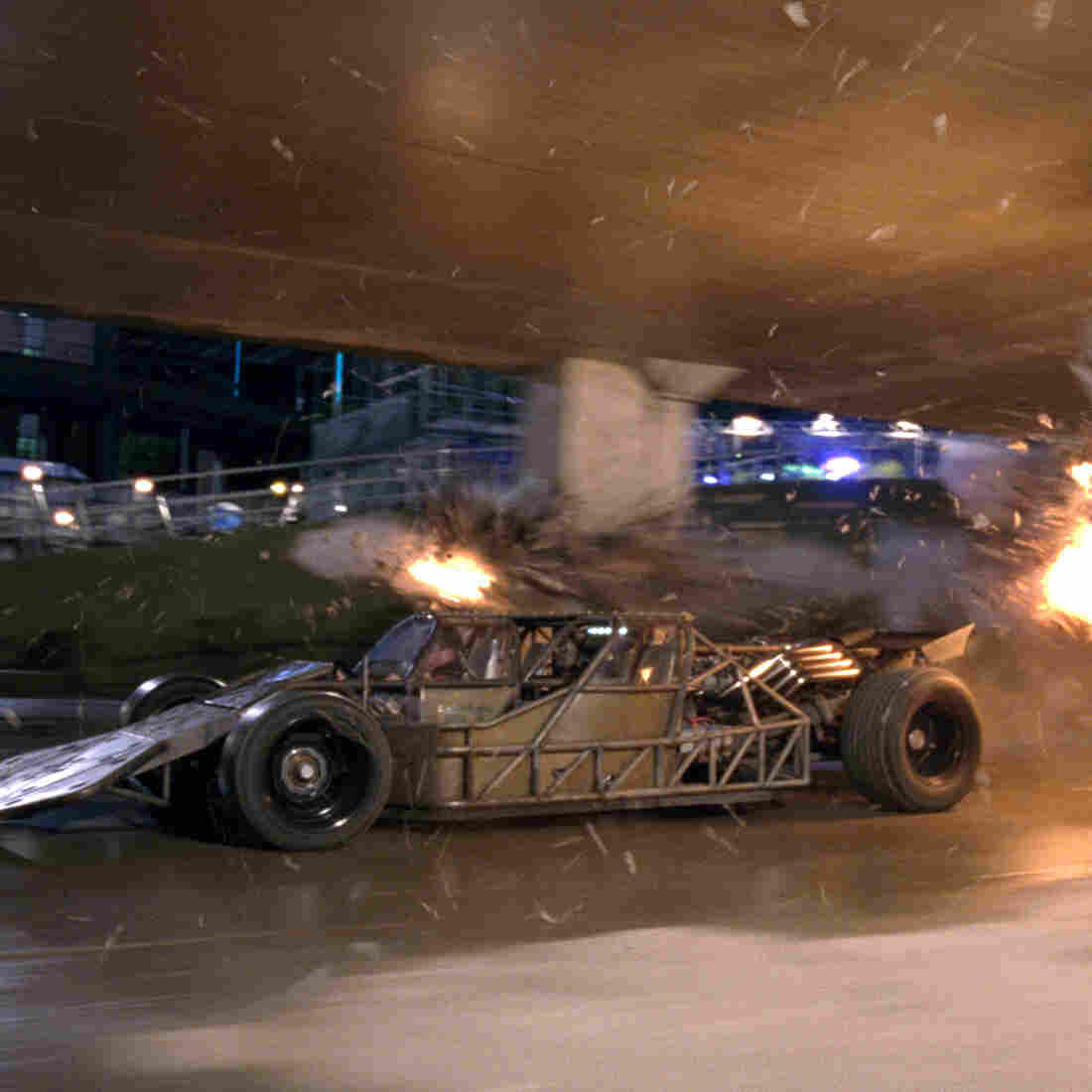 This little skeleton-of-the-Batmobile-y looking thing is actually one of the vehicles on display in Fast & Furious 6.