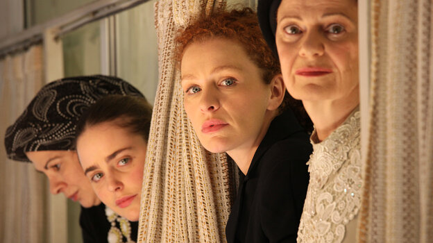 Domestic drama: Among the ultra-Orthodox world of Tel Aviv's Haredi Jews, Rivka (Irit Sheleg, left) and her daughter Shira (Hadas Yaron, second from left, with Hila Feldman and Razia Israeli) are confronted with a dilemma after a death in the family.