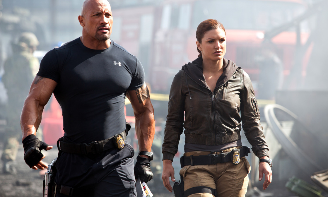 Hot pursuits: Agents Hobbs and Riley (Dwayne Johnson and Gina Carano) enlist Dom and his gearhead crew to combat a something something terrorist something skidding explosions muscles.