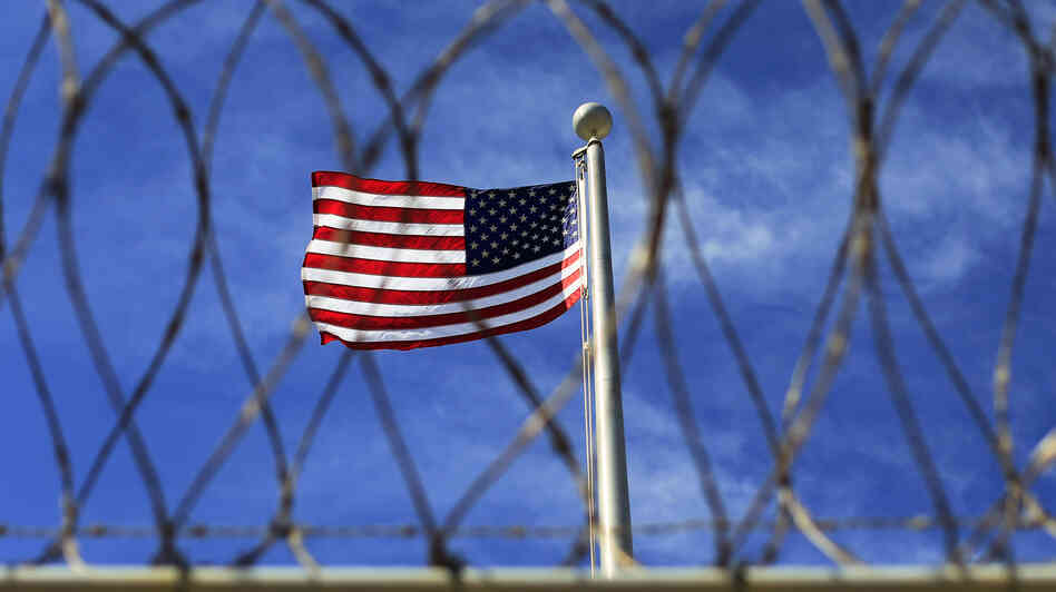 An American flag flying over Camp VI, where detainees are housed at the U.S. Naval Base at Guantanamo Bay.