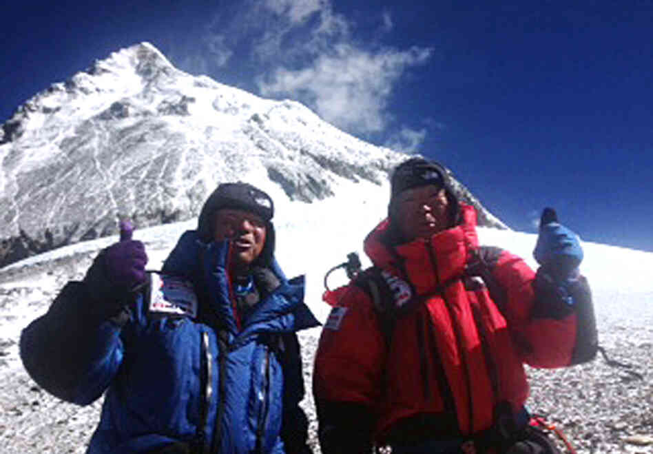 A photo from May 22 shows Yuichiro Miura, 80, right, and his son, Gota at their South Col camp at 26,247 feet during their climb to the top of Mount Everest. Miura became the oldest man to reach the peak.
