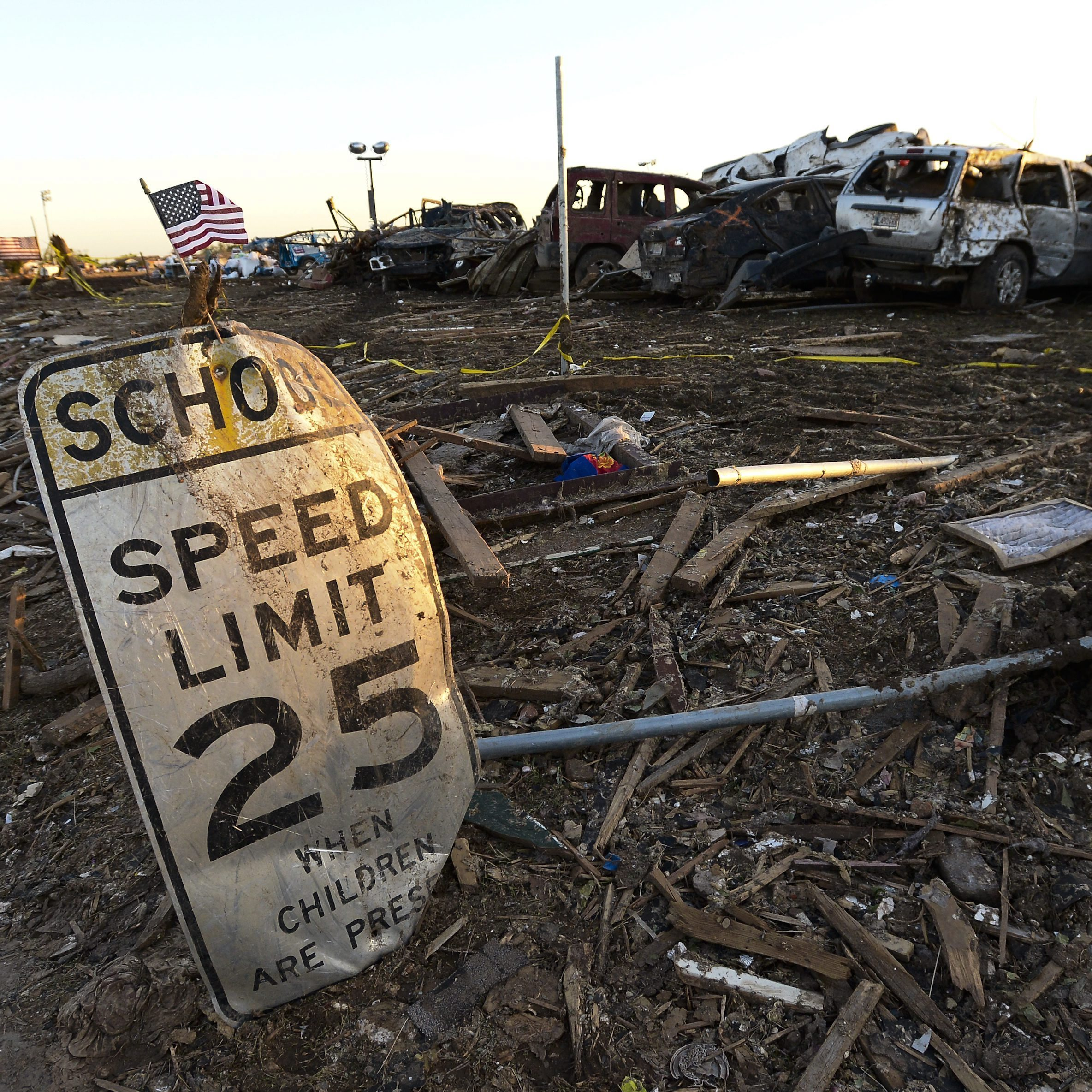The scene at Plaza Towers Elementary School in Moore, Okla., which was destroyed by Monday's tornado. Seven children died there.