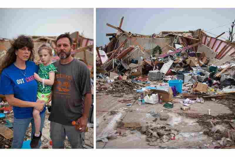 "Carter (who gave only his first name) with his fiancee, Bree Owens, and her daughter, Stevee, 5. Carter escaped the tornado in his storm shelter along with seven neighbors and two dogs. He said the tornado was ""like a giant vacuum cleaner going over you."" Amid the rubble, Owens found pictures of her great-grandparents."