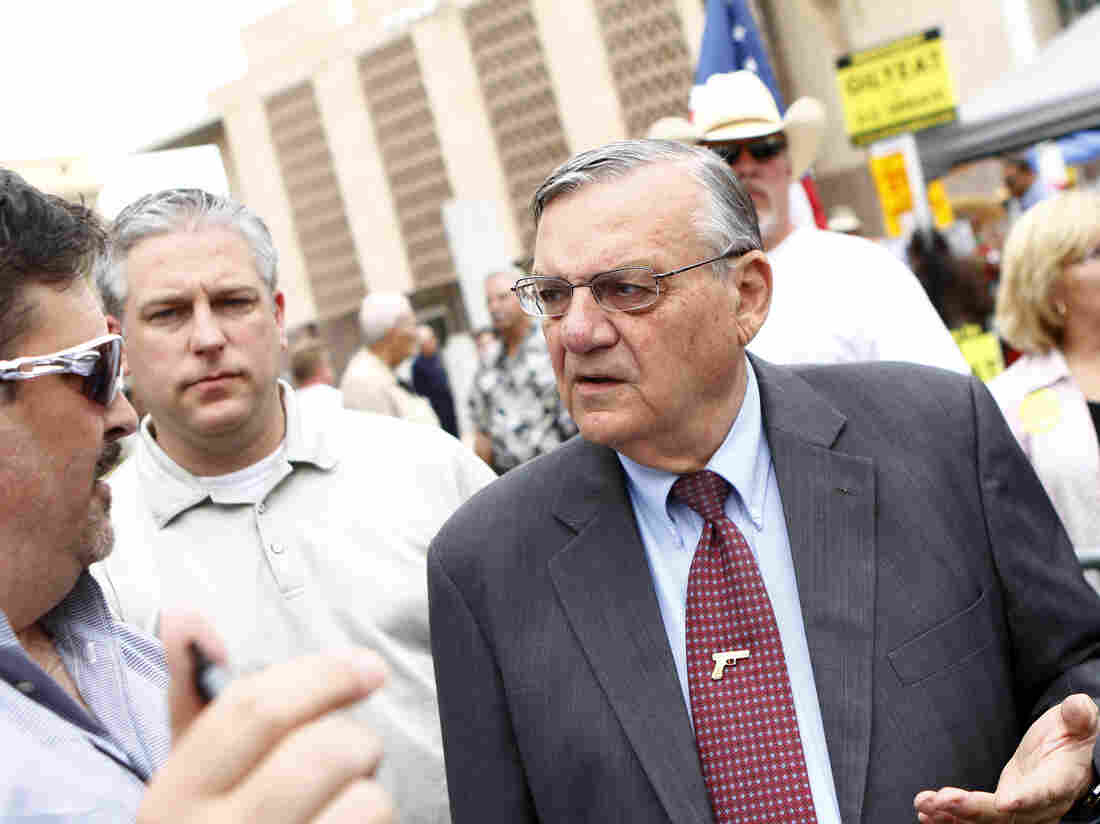Maricopa County Sheriff Joe Arpaio (right) attends a rally for the Tea Party Express in 2010.