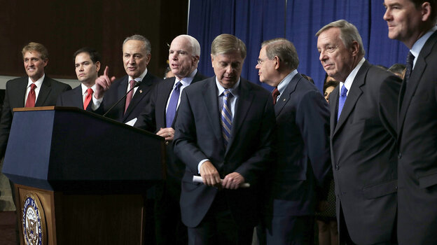A bill proposed by the Senate's Gang of Eight (from left, Jeff Flake, R-Ariz.; Marco Rubio, R-Fla.; Charles Schumer, D-N.Y.; John McCain, R-Ariz.; Lindsey Graham, R-S.C.; Bob Menendez, D-N.J.; Dick Durbin, D-Ill.; and Michael Bennet, D-Colo.) has passed out of committee and is headed for the full Senate. But the fate of the issue in the House is l