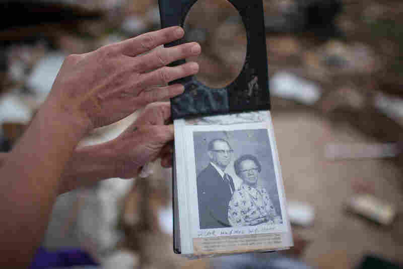Photographs of Bree Owens' great- grandparents, unearthed from the rubble.