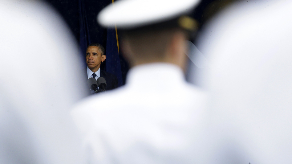 President Obama speaks at the commencement ceremony for the United States Naval Academy in Annapolis, Md., on Friday. The president urged new graduates to exhibit honor and courage in tackling incidents of sexual assault as they assume leadership positions in the military. (Patrick Semansky/AP)